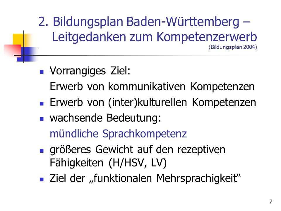 2. Bildungsplan Baden-Württemberg –. Leitgedanken zum Kompetenzerwerb