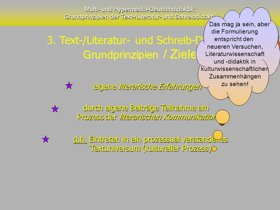 3. Text-/Literatur- und Schreib-Didaktik Grundprinzipien / Ziele: