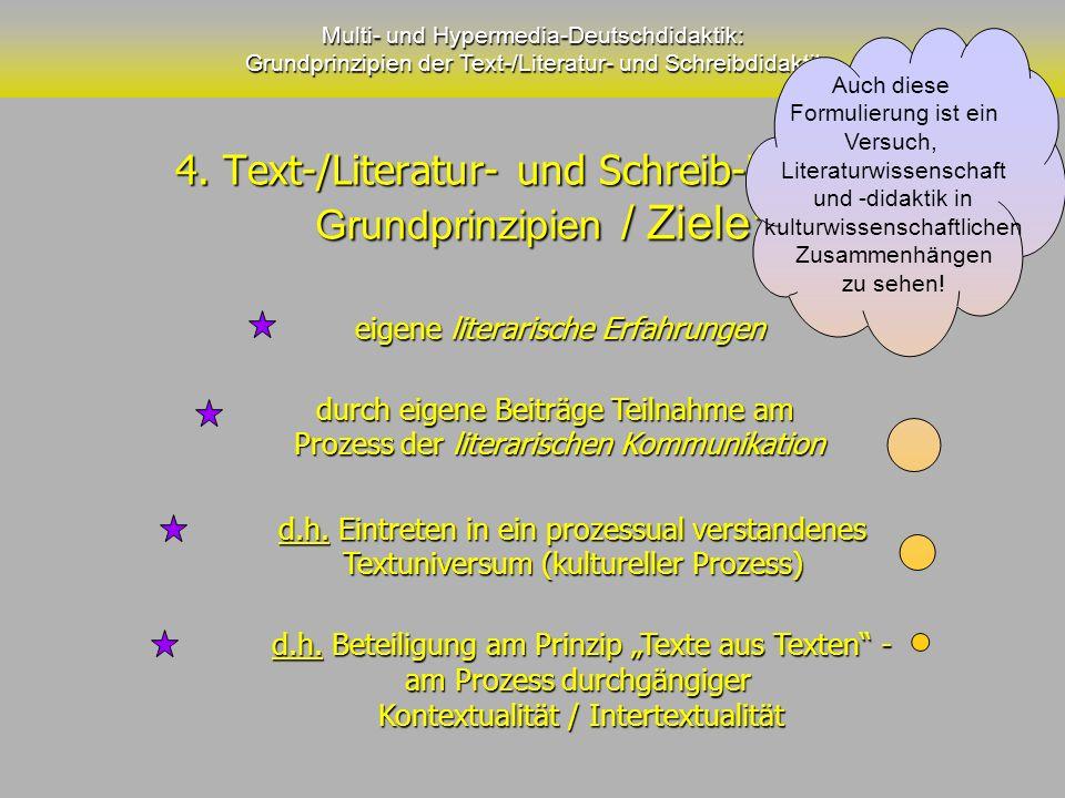 4. Text-/Literatur- und Schreib-Didaktik Grundprinzipien / Ziele: