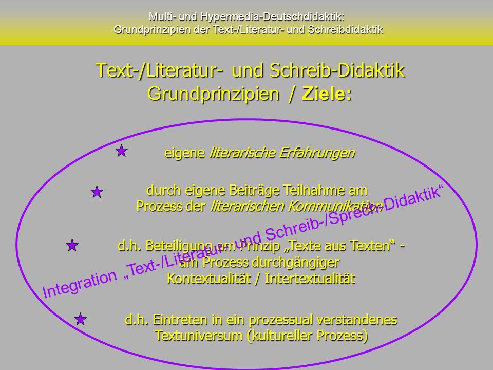 Text-/Literatur- und Schreib-Didaktik Grundprinzipien / Ziele: