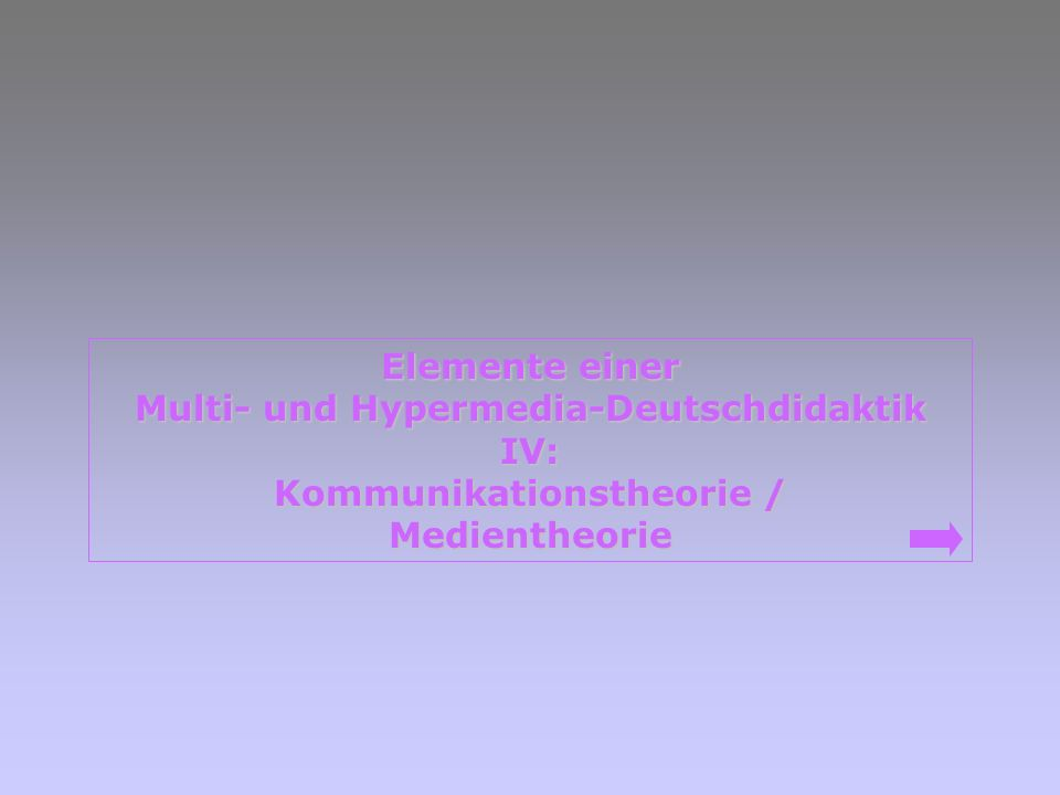Multi- und Hypermedia-Deutschdidaktik Kommunikationstheorie /
