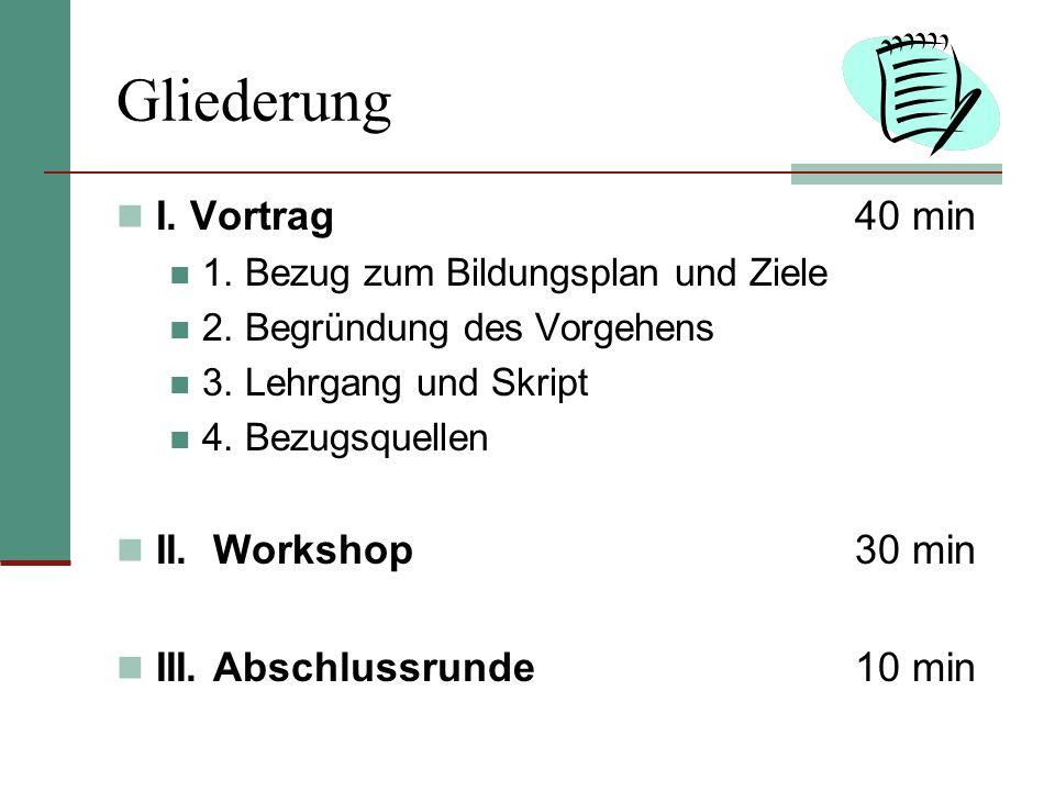 Gliederung I. Vortrag 40 min II. Workshop 30 min