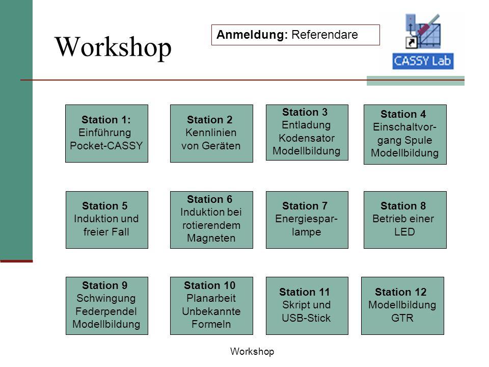 Workshop Anmeldung: Referendare Station 1: Einführung Pocket-CASSY