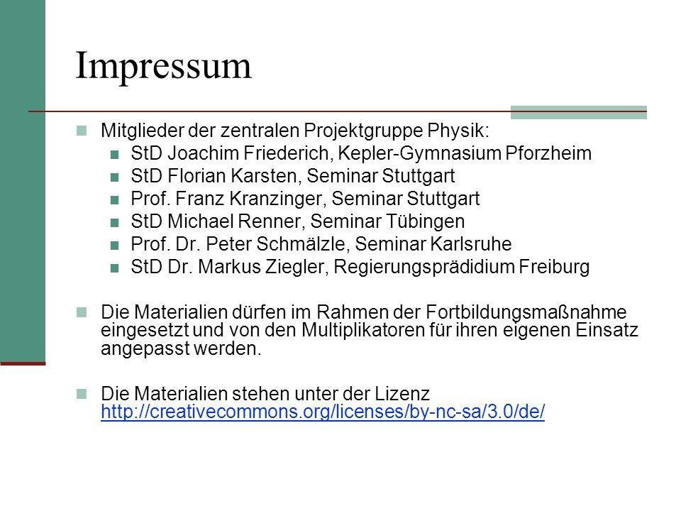 Impressum Mitglieder der zentralen Projektgruppe Physik: