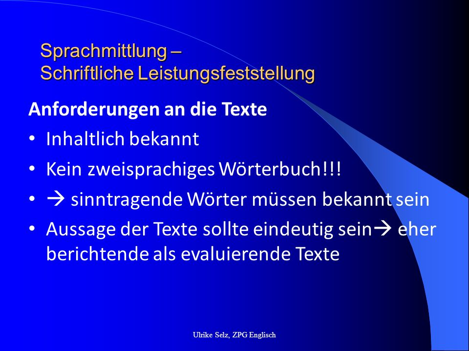 Sprachmittlung – Schriftliche Leistungsfeststellung