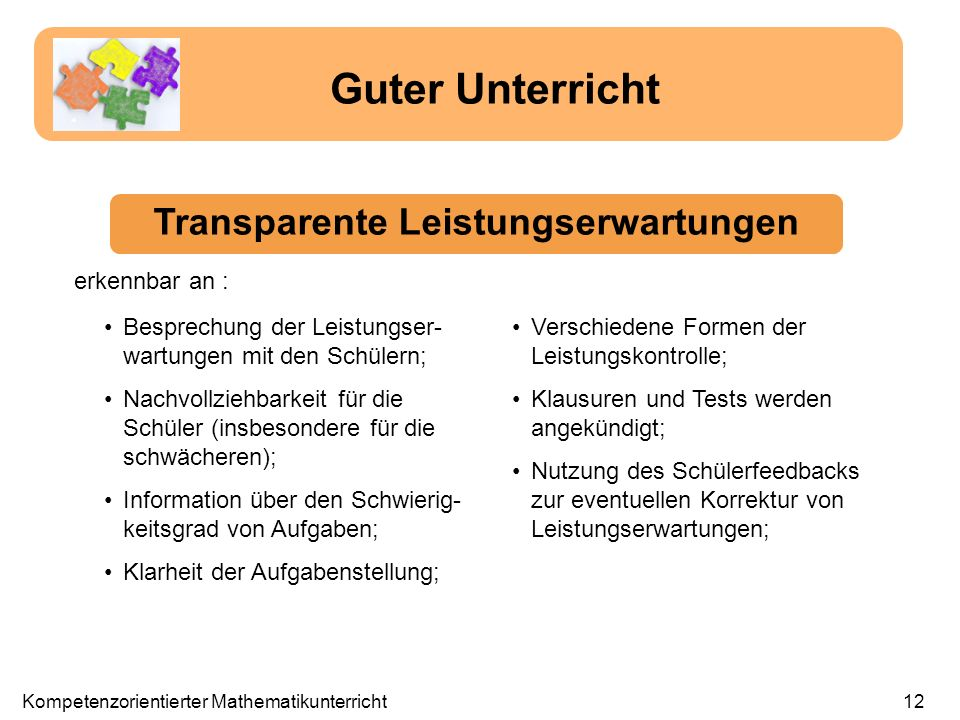 Transparente Leistungserwartungen