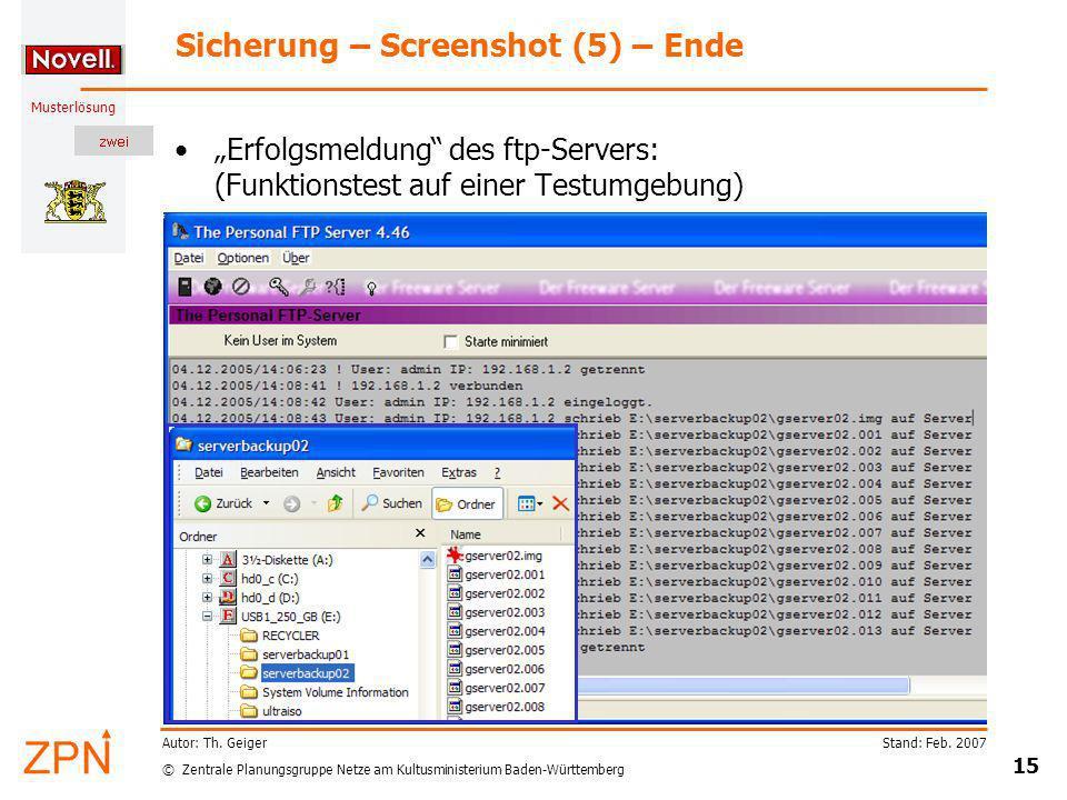 Sicherung – Screenshot (5) – Ende