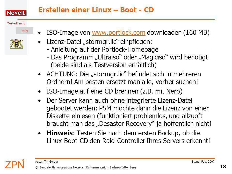 Erstellen einer Linux – Boot - CD