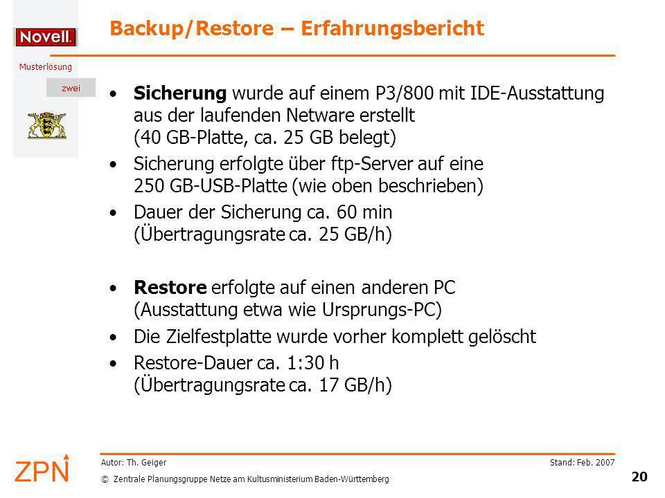 Backup/Restore – Erfahrungsbericht