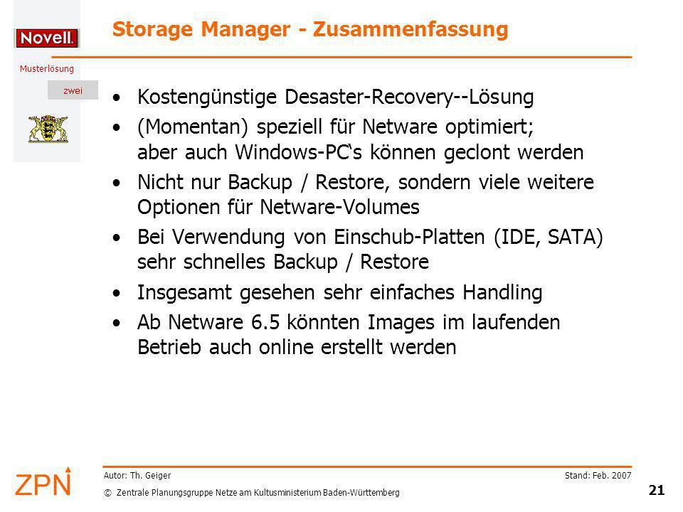 Storage Manager - Zusammenfassung