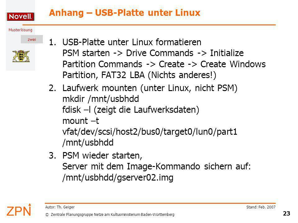 Anhang – USB-Platte unter Linux