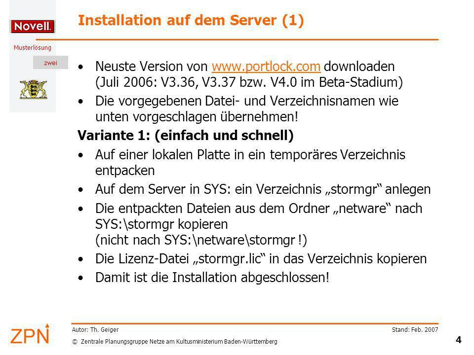 Installation auf dem Server (1)