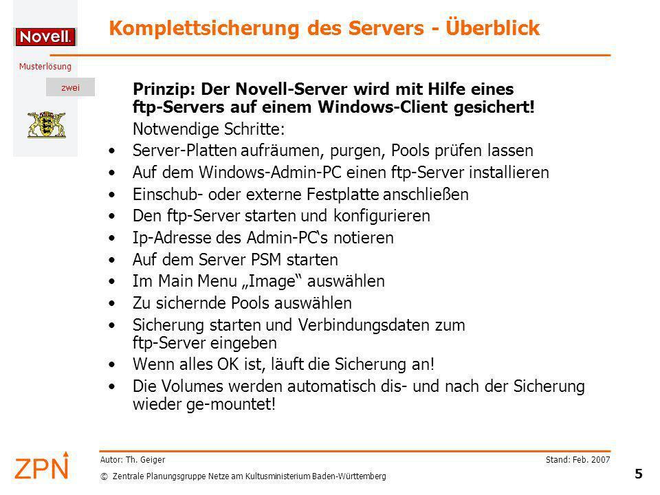 Komplettsicherung des Servers - Überblick