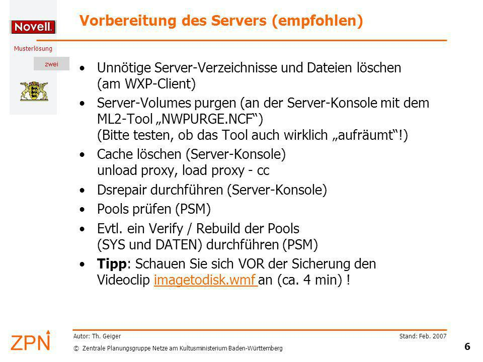 Vorbereitung des Servers (empfohlen)