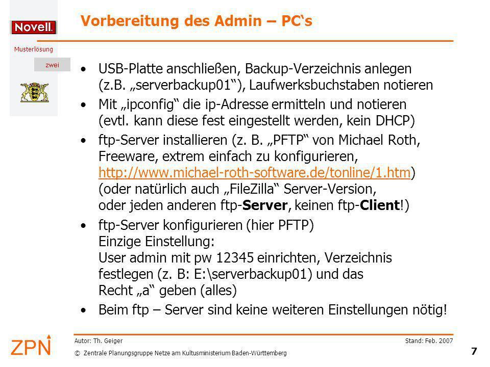 Vorbereitung des Admin – PC's
