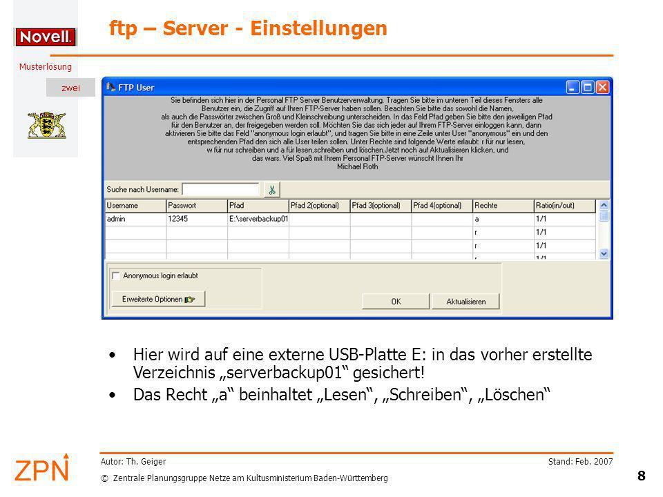 ftp – Server - Einstellungen