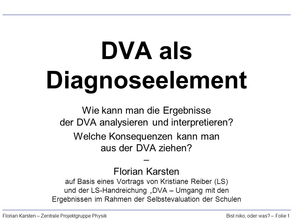 DVA als Diagnoseelement