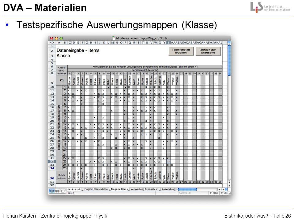 Testspezifische Auswertungsmappen (Klasse)