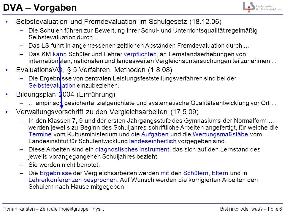 DVA – Vorgaben Selbstevaluation und Fremdevaluation im Schulgesetz (18.12.06)