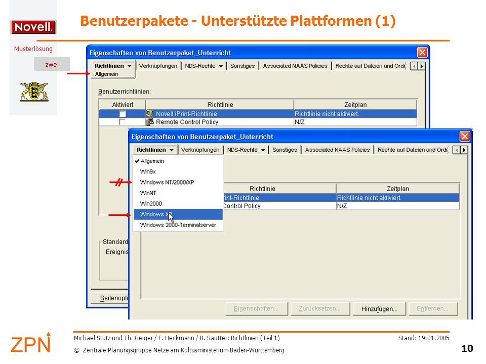 Benutzerpakete - Unterstützte Plattformen (1)