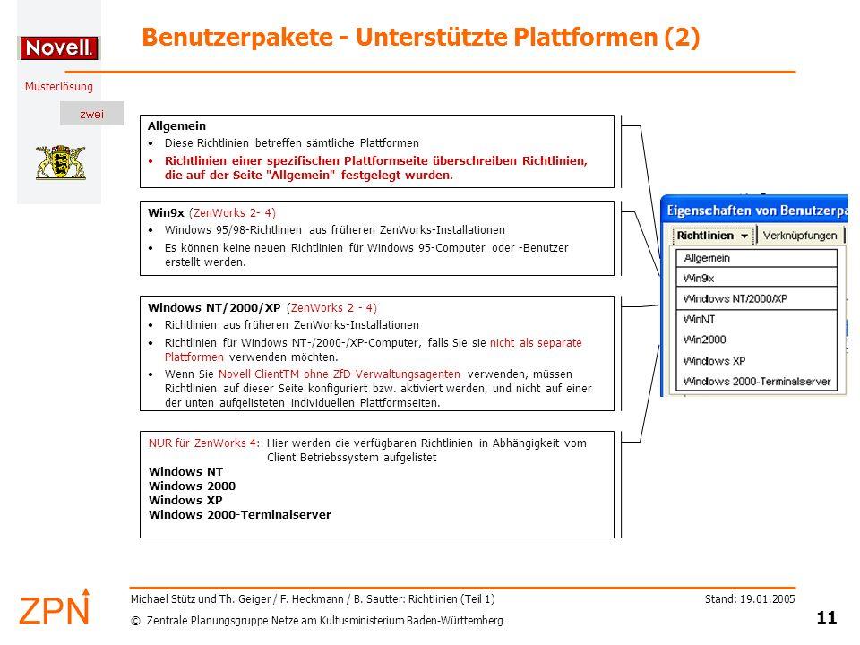 Benutzerpakete - Unterstützte Plattformen (2)
