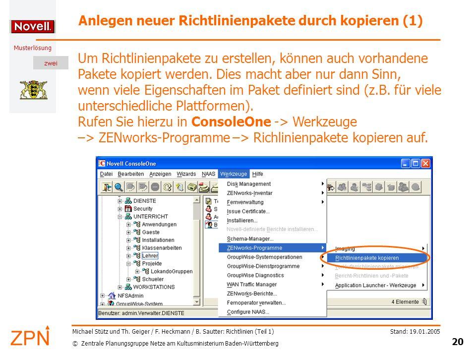 Anlegen neuer Richtlinienpakete durch kopieren (1)