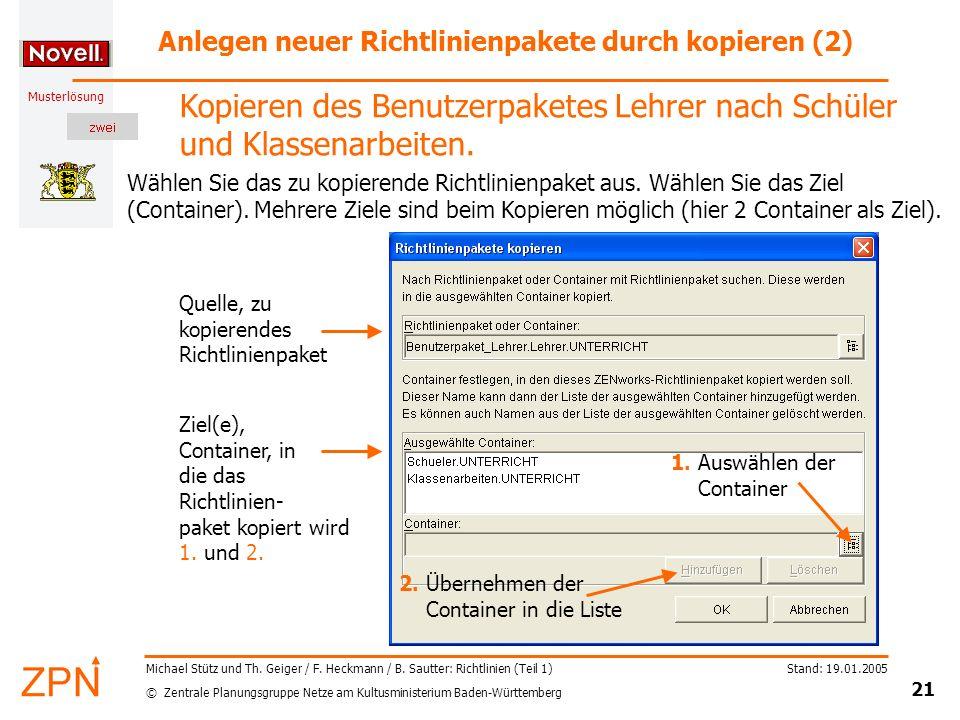 Anlegen neuer Richtlinienpakete durch kopieren (2)