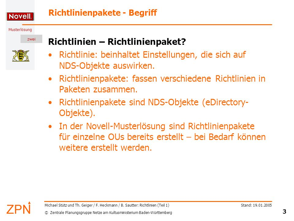 Richtlinienpakete - Begriff