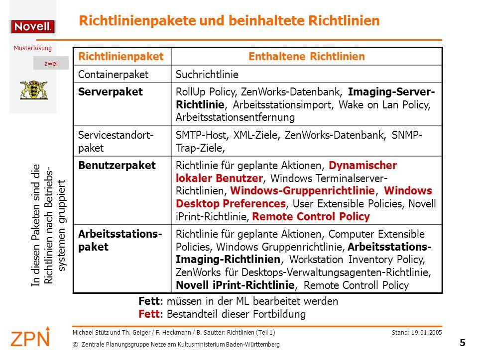 Richtlinienpakete und beinhaltete Richtlinien