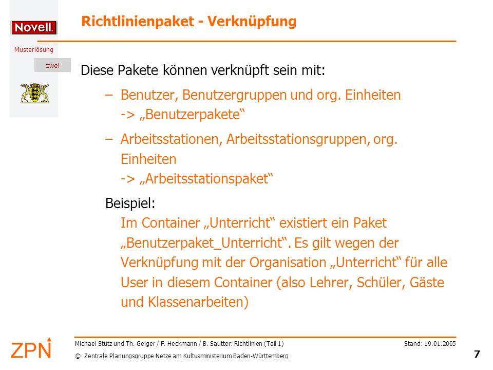 Richtlinienpaket - Verknüpfung
