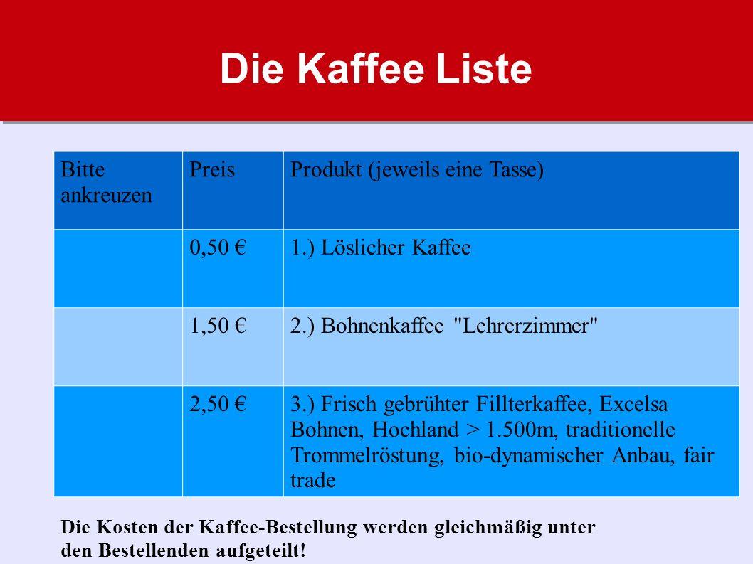 Die Kaffee Liste Bitte ankreuzen Preis Produkt (jeweils eine Tasse)