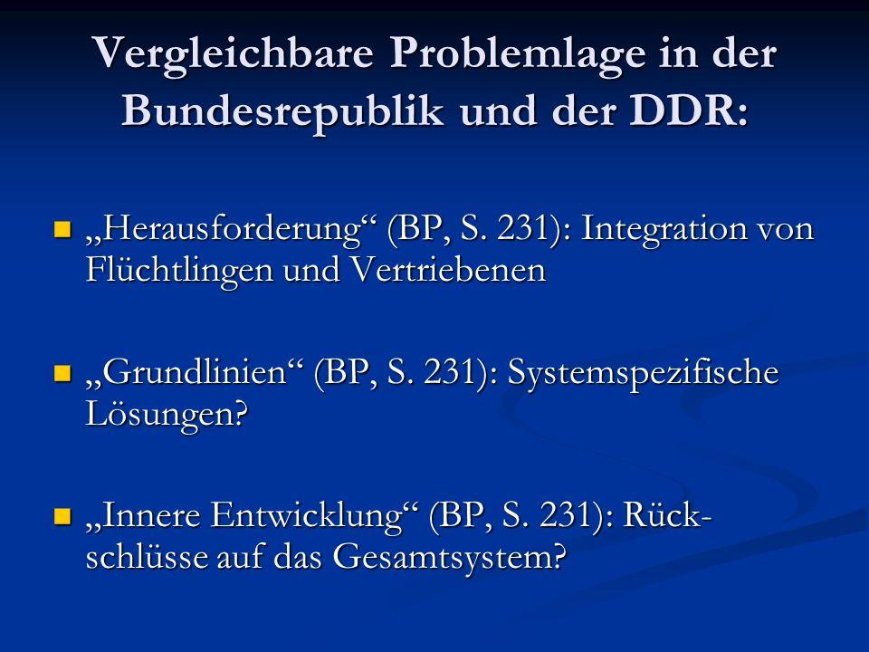 Vergleichbare Problemlage in der Bundesrepublik und der DDR: