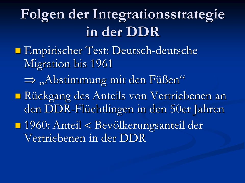 Folgen der Integrationsstrategie in der DDR