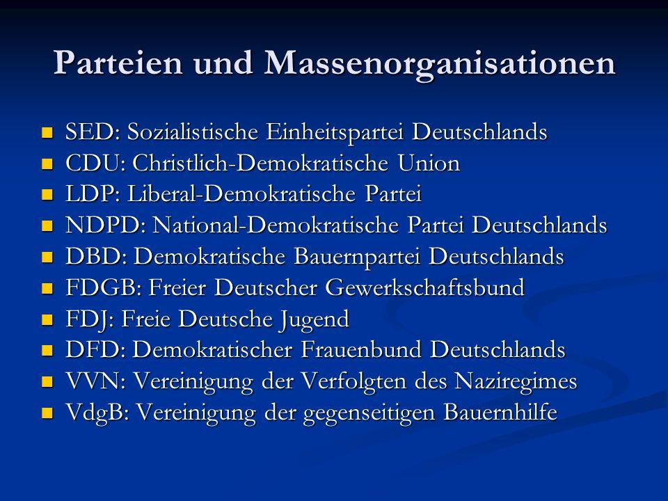 Parteien und Massenorganisationen
