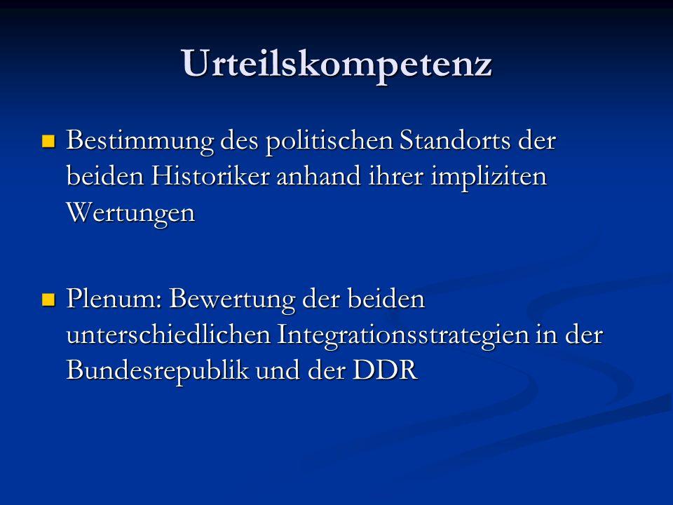 Urteilskompetenz Bestimmung des politischen Standorts der beiden Historiker anhand ihrer impliziten Wertungen.