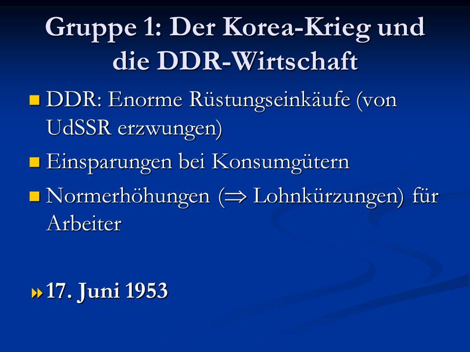 Gruppe 1: Der Korea-Krieg und die DDR-Wirtschaft