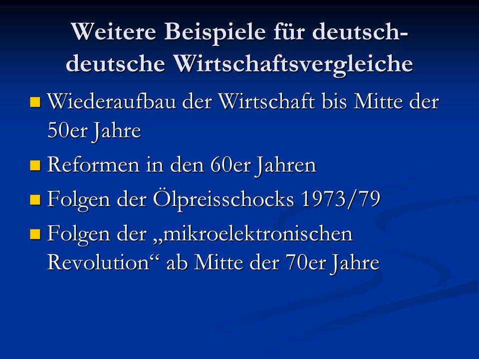 Weitere Beispiele für deutsch-deutsche Wirtschaftsvergleiche