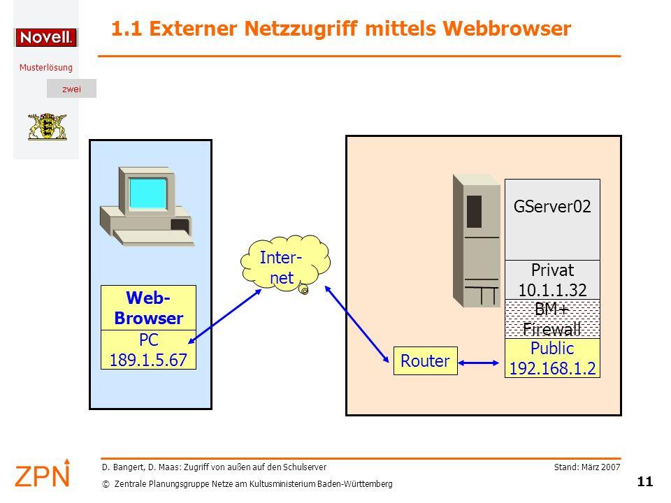 1.1 Externer Netzzugriff mittels Webbrowser