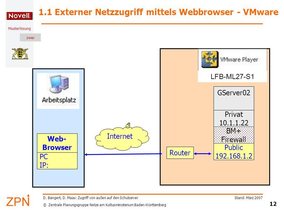 1.1 Externer Netzzugriff mittels Webbrowser - VMware
