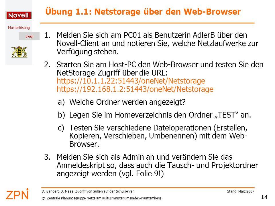 Übung 1.1: Netstorage über den Web-Browser