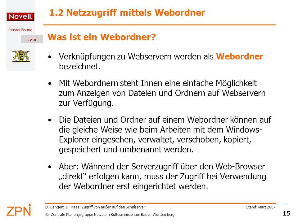 1.2 Netzzugriff mittels Webordner