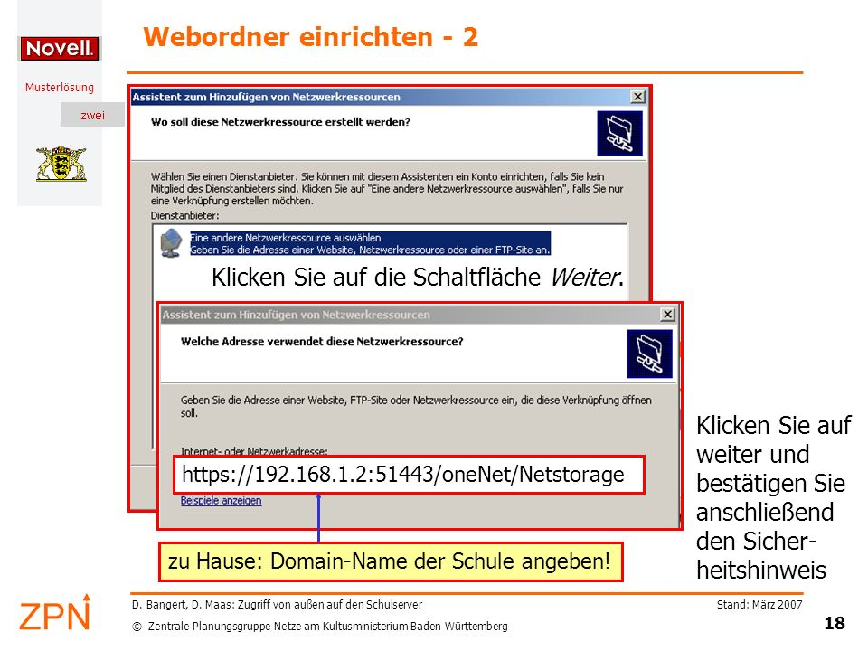 Webordner einrichten - 2