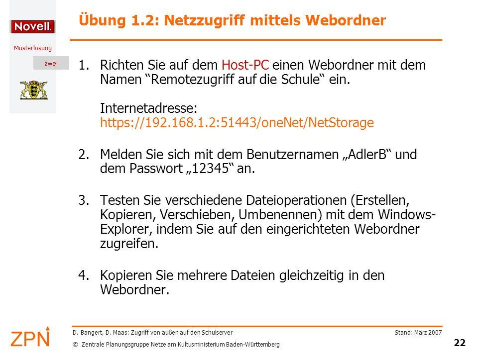 Übung 1.2: Netzzugriff mittels Webordner