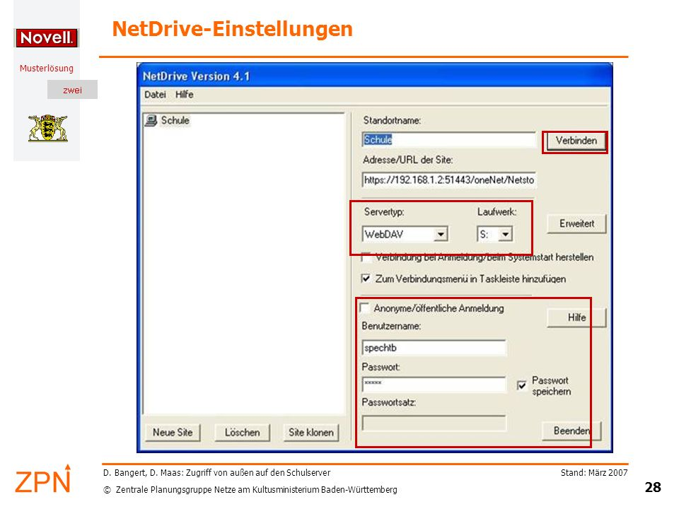 NetDrive-Einstellungen