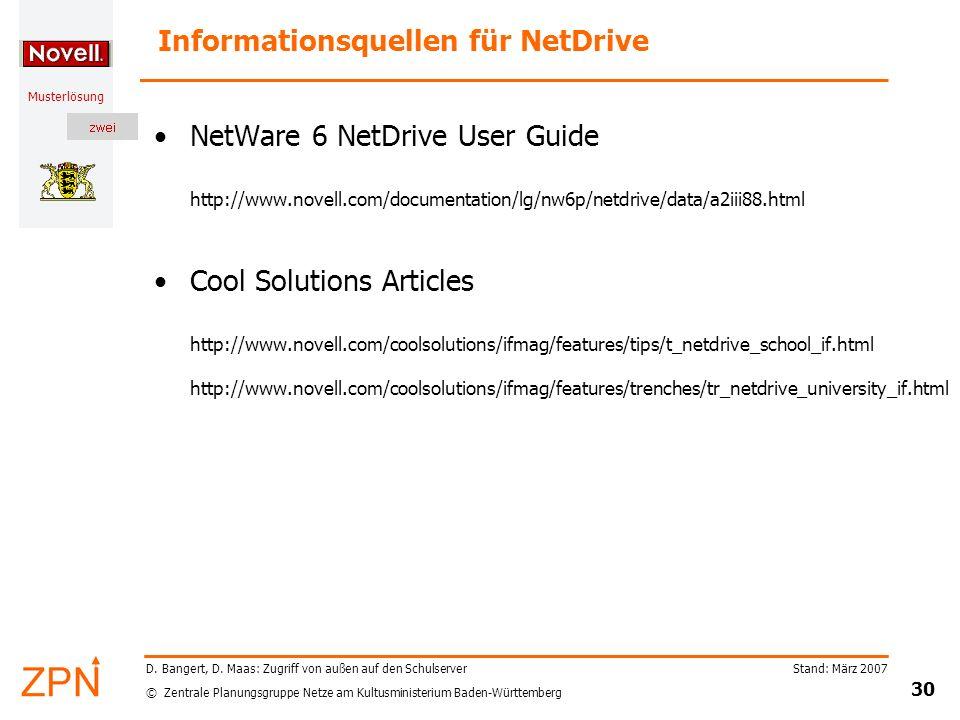 Informationsquellen für NetDrive