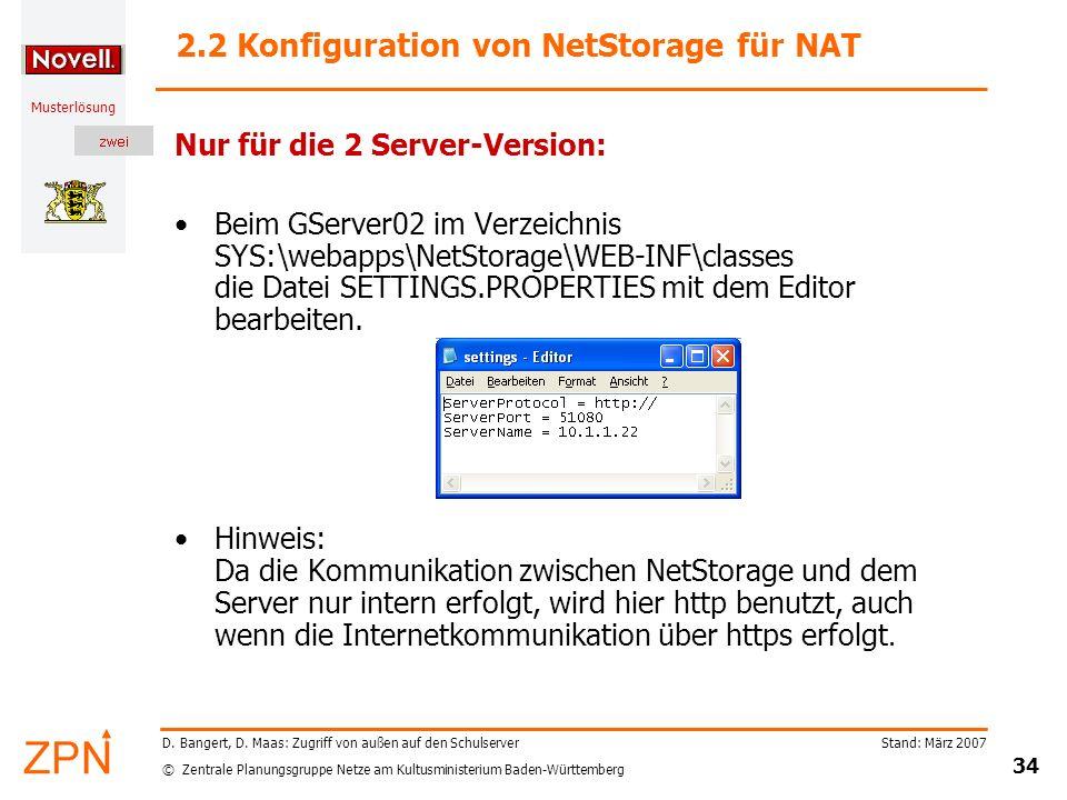 2.2 Konfiguration von NetStorage für NAT