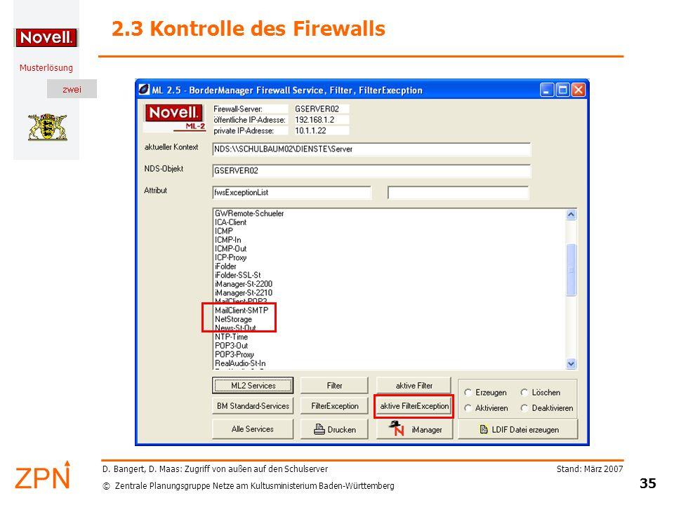 2.3 Kontrolle des Firewalls