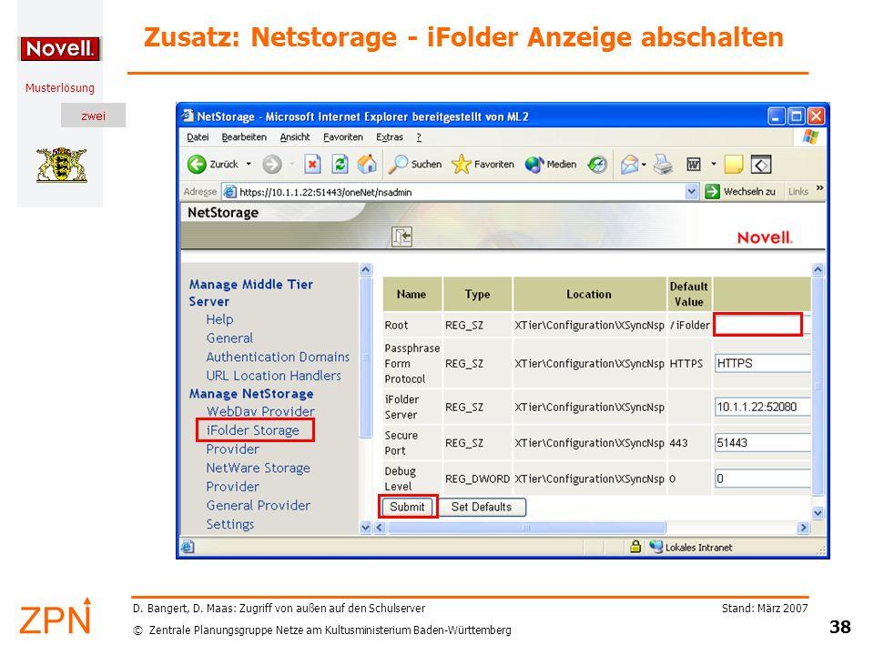 Zusatz: Netstorage - iFolder Anzeige abschalten