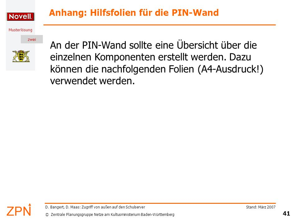 Anhang: Hilfsfolien für die PIN-Wand