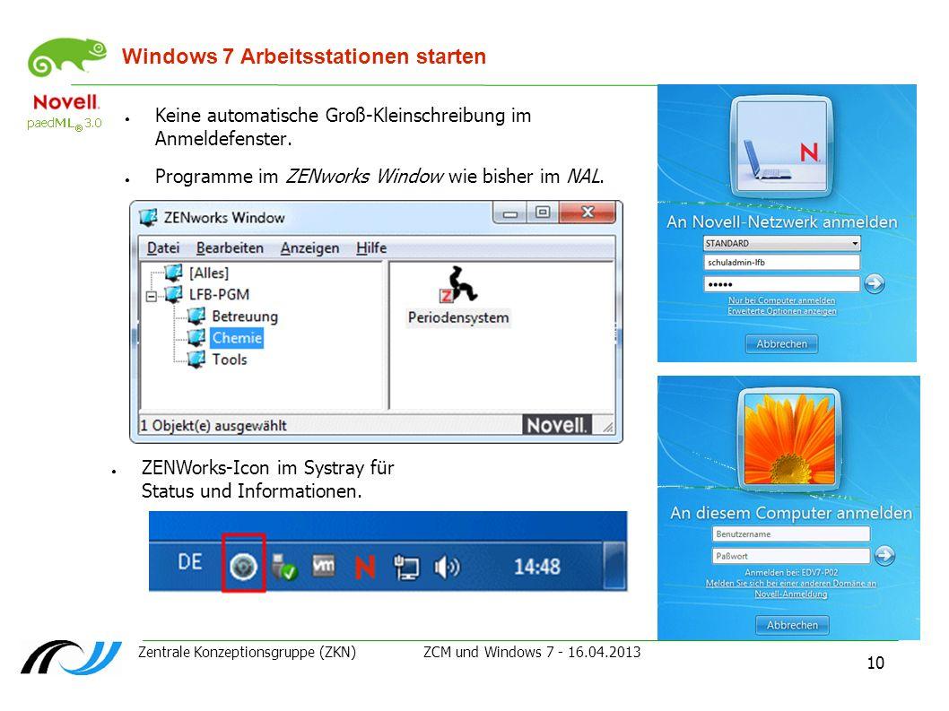 Windows 7 Arbeitsstationen starten